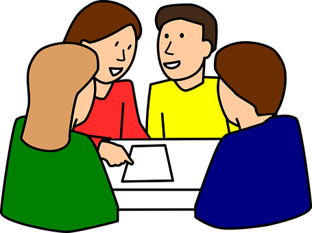 Cartoon of group of People sitting and talking around a table