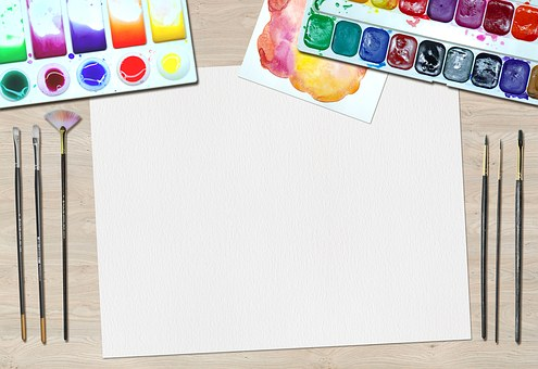 Blank Paper with watercolor and paintburshed