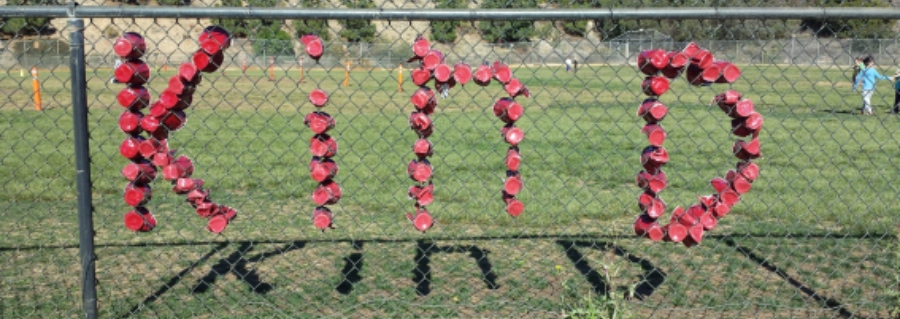 Kind in red cups on fence